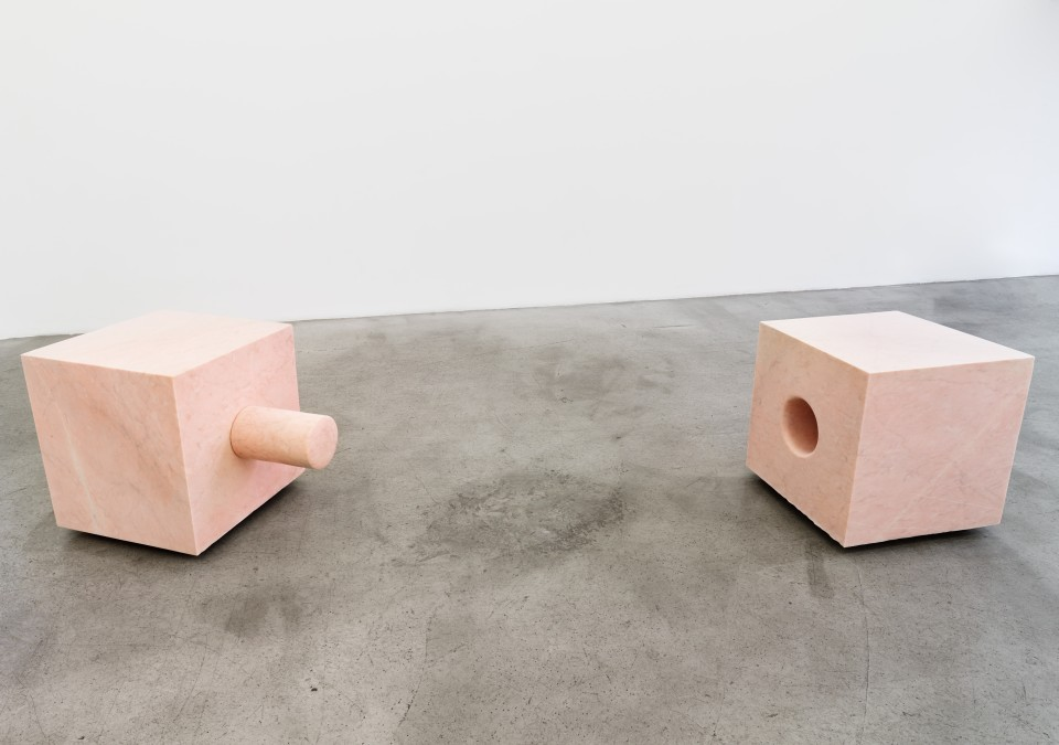 Image: Nevine Mahmoud  Primary encounter (pink tensions), 2017  Portuguese marble, stainless steel hardware  24 1/2 x 24 1/2 x 24 1/2 inches (62.2 x 62.2 x 62.2 cm) 25 x 24 x 37 inches (63.5 x 62.2 x 94 cm)