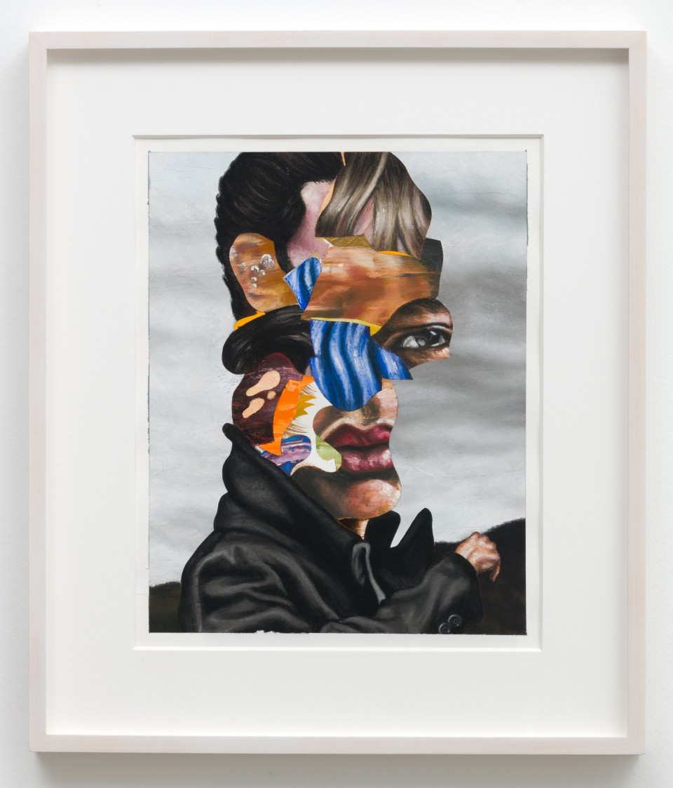Image: Nathaniel Mary Quinn  Back to the Future, 2018  signed, titled and dated verso  black charcoal, gouache, soft pastel, oil pastel, paint stick, acrylic gold leaf on Coventry Vellum paper  paper size: 16 x 13 inches (40.6 x 33 cm) framed size: 17 3/4 x 20 x 1 1/2 inches (45.09 x 50.8 x 3.81 cm)