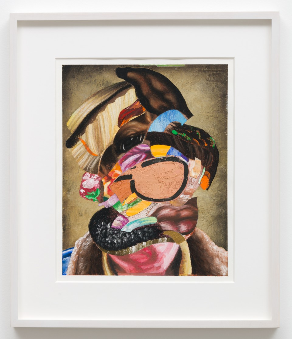 Image: Nathaniel Mary Quinn  Over and Over, 2018  signed, titled and dated verso  black charcoal, gouache, soft pastel, oil pastel, paint stick, acrylic gold leaf on Coventry Vellum paper  paper size: 16 x 13 inches (40.6 x 33 cm) framed size: 17 3/4 x 20 x 1 1/2 inches (45.09 x 50.8 x 3.81 cm)