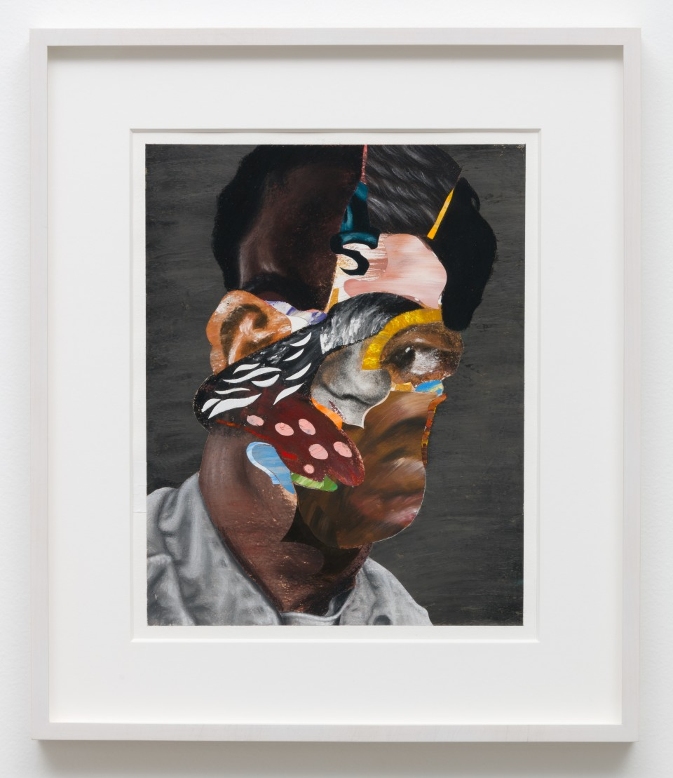 Image: Nathaniel Mary Quinn  Superman, 2018  signed, titled and dated verso  black charcoal, gouache, soft pastel, oil pastel, paint stick, acrylic gold leaf on Coventry Vellum paper  paper size: 16 x 13 inches (40.6 x 33 cm) framed size: 17 3/4 x 20 x 1 1/2 inches (45.09 x 50.8 x 3.81 cm)