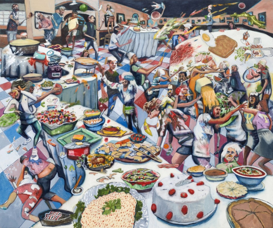 Image: Rob Thom, Food Fight Club, 2018, signed and dated, oil and wax on canvas, 60 x 72 inches