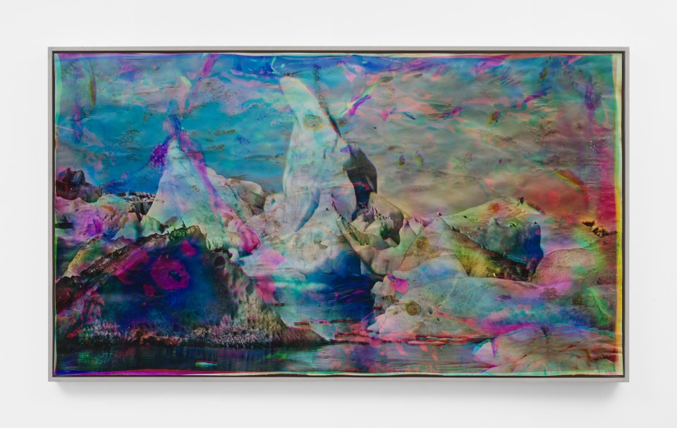 Image: Matthew Brandt  Vatnajökull CMY5, 2018-2020  signed, titled and dated verso  heated chromogenic print, with acrylic varnish and Aqua-Resin support  49 x 84 5/8 inches (124.5 x 214.9 cm)