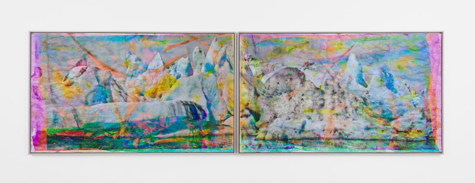Image: Matthew Brandt  Vatnajökull MYCD1 (diptych), 2018-2020  signed, titled and dated verso  heated chromogenic print, with acrylic varnish and Aqua-Resin support  each panel: 72 x 120 inches (182.9 x 304.8 cm) overall: 72 x 240 inches (182.9 x 609.6 cm)