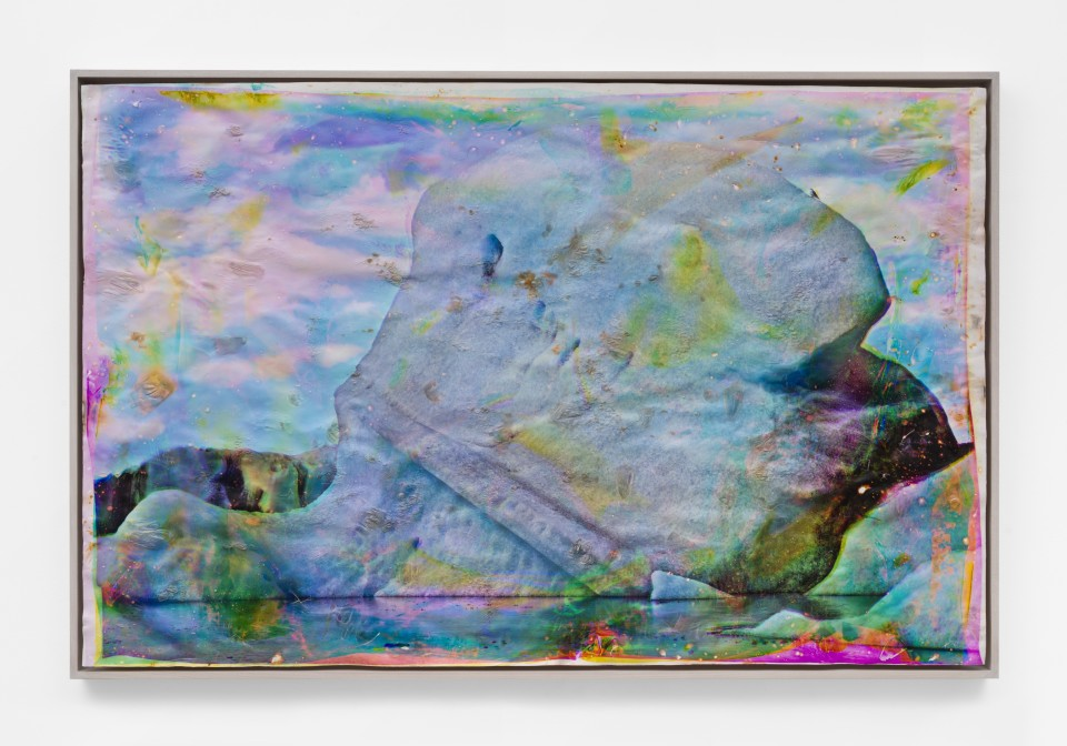 Image: Matthew Brandt  Vatnajökull YCM39, 2018-2020  signed, titled and dated verso  heated chromogenic print, with acrylic varnish and Aqua-Resin support  48 1/2 x 74 inches (123.2 x 188 cm)