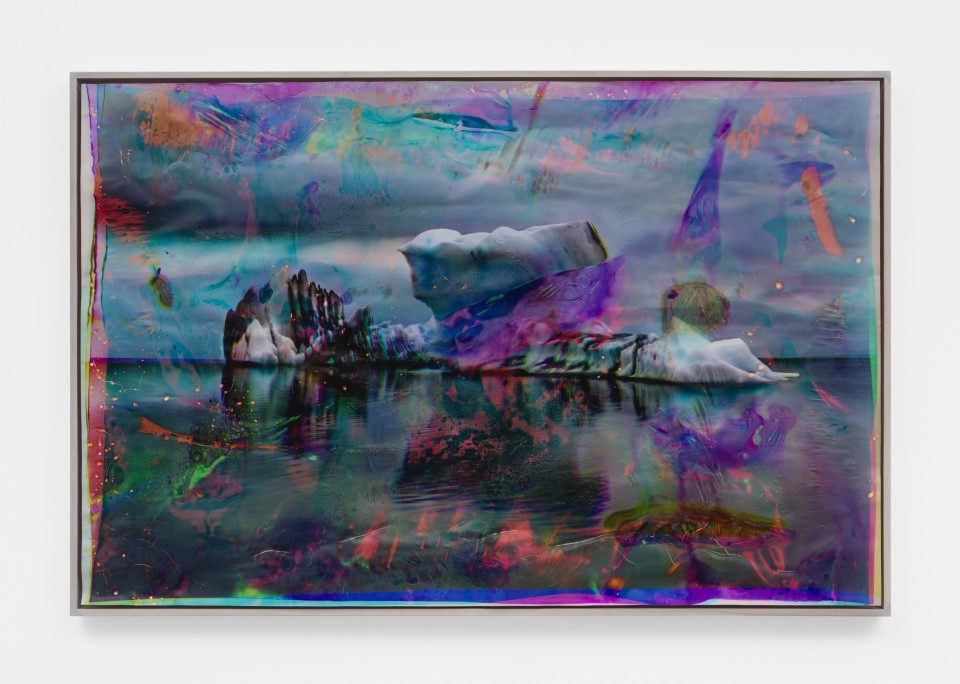 Image: Matthew Brandt  Vatnajökull YMC12, 2018-2020  signed, titled and dated verso  heated chromogenic print, with acrylic varnish and Aqua-Resin support  49 x 73 5/8 inches (124.5 x 187 cm)