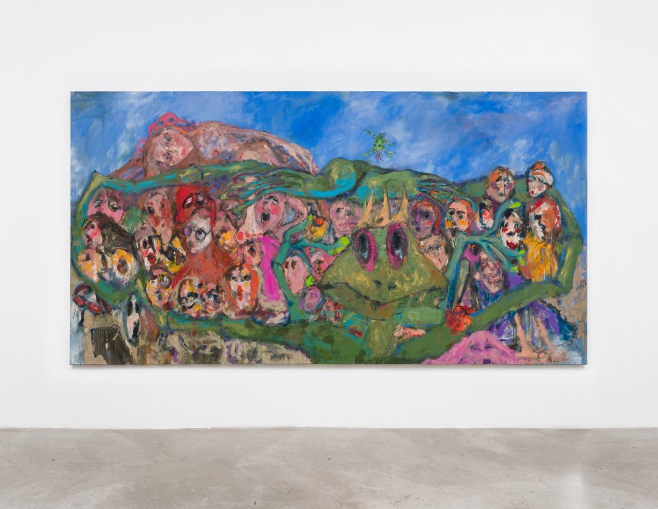 Image: Eva Beresin  My people, 2021  signed and dated verso  acrylic and oil on canvas  77 x 145 1/2 inches (195.6 x 369.6 cm)  (EBe.21.024.77)