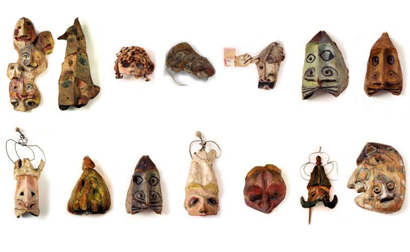 <div class=&#34;artist&#34;><strong>Franciszka THEMERSON</strong></div> 1907-1988 <div class=&#34;title&#34;><em>Ubu Masks</em>, 1951</div> <div class=&#34;medium&#34;>Set of fourteen oil paint on papier-mâché masks</div> <div class=&#34;dimensions&#34;>Variable dimensions</div>