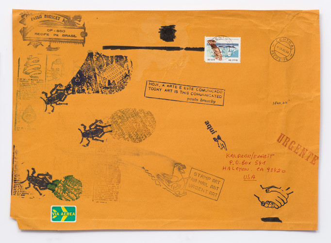 <div class=&#34;artist&#34;><strong>Paulo Bruscky</strong></div> 1949 -  <div class=&#34;title&#34;><em>Today Art is This Communicated</em>, 1984</div> <div class=&#34;medium&#34;>Rubberstamped and inscribed postal envelope</div> <div class=&#34;dimensions&#34;>25 x 36 cm</div>