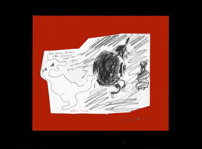 <div class=&#34;artist&#34;><strong>Franciszka THEMERSON</strong></div> 1907-1988 <div class=&#34;title&#34;><em>Conscience Kicks Père Ubu, Ubu Cocu</em>, 1971</div> <div class=&#34;signed_and_dated&#34;>Signed, titled and dated on front</div> <div class=&#34;medium&#34;>pastel on paper, collage</div> <div class=&#34;dimensions&#34;>With mount: 40 x 42 cm<br /> Inside mount: 24 x 28 cm</div>
