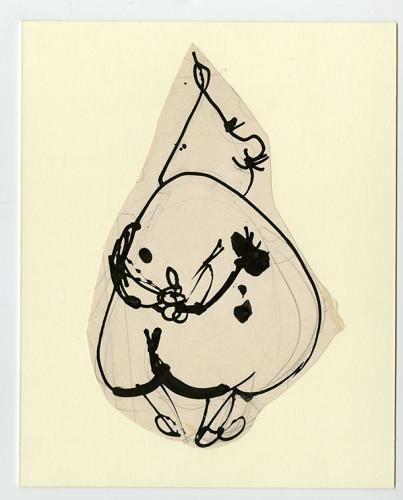 <div class=&#34;artist&#34;><strong>Franciszka THEMERSON</strong></div> 1907-1988 <div class=&#34;title&#34;><em>Père Ubu, Musing</em>, 1969</div> <div class=&#34;medium&#34;>ink on paper, collage</div> <div class=&#34;dimensions&#34;>25 x 20 cm</div>