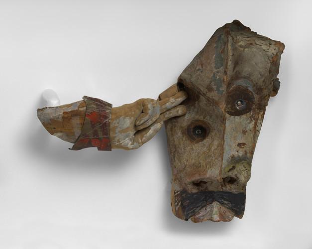 <div class=&#34;artist&#34;><strong>Franciszka THEMERSON</strong></div> 1907-1988 <div class=&#34;title&#34;><em>Bordure</em>, 1951</div> <div class=&#34;medium&#34;>oil paint on papier-mâché mask</div> <div class=&#34;dimensions&#34;>50 x 107 x 23.5 cm</div>