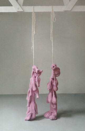 <div class=&#34;artist&#34;><strong>Nicholas POPE</strong></div> 1949- <div class=&#34;title&#34;><em>Mr and Mrs Pope knitted, shrunk and hung</em>, 2012</div> <div class=&#34;medium&#34;>Knitted and felted mohair</div> <div class=&#34;dimensions&#34;>Height 135 cm</div>