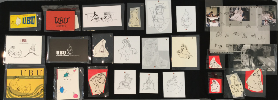 <div class=&#34;artist&#34;><strong>Franciszka THEMERSON</strong></div> 1907-1988 <div class=&#34;title&#34;><em>VITRINE 2</em></div> <div class=&#34;medium&#34;>1. Book: UBU de bezige bij, Uitgeverij De Bezige Bij, Amsterdam (1987);<br /> 2. Book: Ubu Comic (without jacket), Bobbs Merrill Publishing (1970);<br /> 3. Book: UBU, liberi libri editore (2013);<br /> 4. Book: UBU, Muzeum Sztuki w Lodzi (2005);<br /> 5. Book: UBU, Editions de l'an 2 (2005);<br /> 6. Book: UBU comic, Japanese edition (1993):<br /> 7. Digital print of Ubu comic n. 1;<br /> 8. 'Pere-Ubu', ink drawing and collage (Themerson's archive code D69.42);<br /> 9. 'Mere-Ubu cooking...', ink drawing and collage (Themerson's archive code D69.16A);<br /> 10.  'Polish soldier...', ink drawing and collage (Themerson's archive code D69.13);<br /> 11. Digital print on photgraphic paper of Ubu comic character 1;<br /> 12. Digital print on photgraphic paper of Ubu comic character 2;<br /> 13. Digital print on photgraphic paper of Ubu comic character 3;<br /> 14. Digital print on photgraphic paper of Ubu comic character 4;<br /> 15. Digital print on photgraphic paper of Ubu comic character 5;<br /> 16. Digital print on photgraphic paper of Ubu comic character 6;<br /> 17. 'Mere Ubu indicating', ink drawing and collage (1969) (Themerson's archive code D69.27);<br /> 18. Digital print on photgraphic paper of Ubu comic character 7;<br /> 19. Lithograph plate;<br /> 20. 'Franciska in her studio1 ', c-print (1970);<br /> 21. 'Franciska in her studio 2', c-print (1970);<br /> 22. 'Franciska in her studio 3', c-print (1970);<br /> 23. 'Franciska in her studio 4', gelatin silver print (1970);<br /> 24. 'Ubu Pigging It', ink drawing and collage (Themerson's archive code D69.50);<br /> 25. 'Tzar...', digital print and collage (Themerson's archive code D69.37);<br /> 26. 'Soldier with...', ink drawing and collage (Themerson's archive code D69.57);<br /> 27. 'Pere-Ubu', ink drawing and collage (Themerson's archive code D6