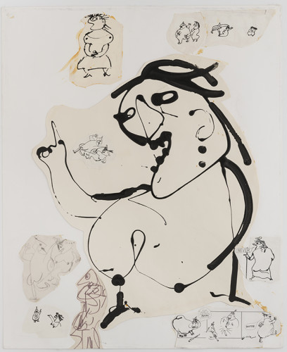 <div class=&#34;artist&#34;><strong>Franciszka THEMERSON</strong></div> 1907-1988 <div class=&#34;title&#34;><em>Mère Ubu Drawings, Ubu Comic</em>, 1969</div> <div class=&#34;medium&#34;>ink and pencil on paper, collage</div> <div class=&#34;dimensions&#34;>Framed: 81 x 68 cm<br /> Inside frame: 49 x 62 cm</div>