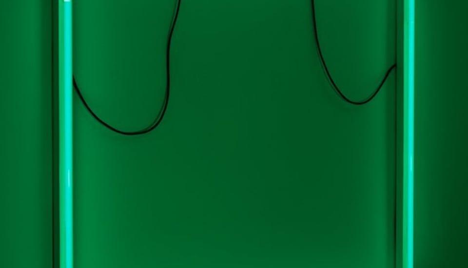 Paul Merrick  Untitled (Green Plate), 2011  Striplights, Rubberflex  166 x 179 x 95 cm 65 3/8 x 70 1/2 x 37 3/8 in