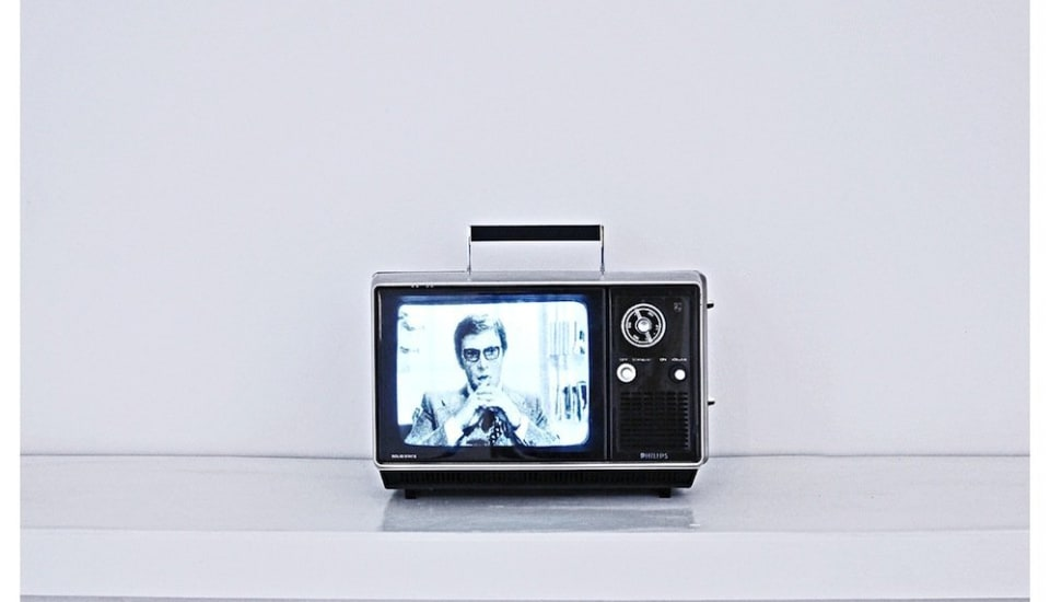 Darren Banks  Aural Fascination, 2012  Small portable TV, universal modulator, DVD player, video  Duration: Looped