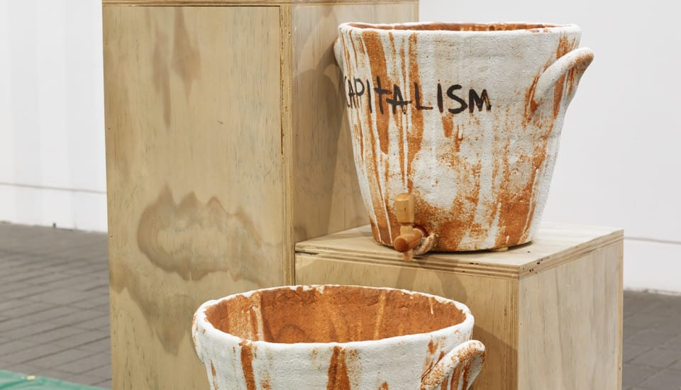 Mark Essen Believe Your Beliefs and Doubt Your Doubts, 2017, Ceramic and wood, Courtesy the artist.