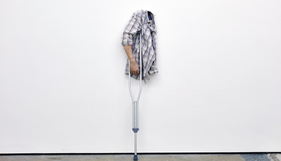 Joel Kyack The Comeback, 2015 Urethane arm, dress shirt, crutch and wire 365 x 694 x 21 cm 143 3/4 x 273 1/4 x 8 1/4 in (JK0003)  Courtesy of the artist and Workplace Gallery, UK