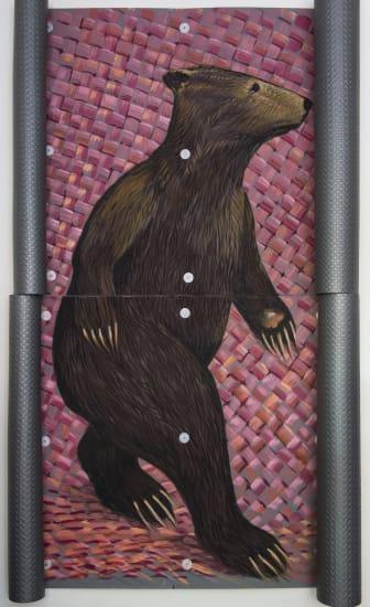 Derek Cowie Long Bear (Fabric) c2048, 2020 Oil on Faux Steel Fatigue Mat 2400mm x 1450mm