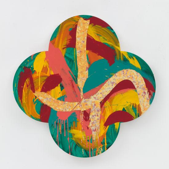 "Max GIMBLETT The Garden—After Vincent Van Gogh, 2019 Acrylic, resin, Aquasize and precious metal leaf on canvas 40"" x 40"""