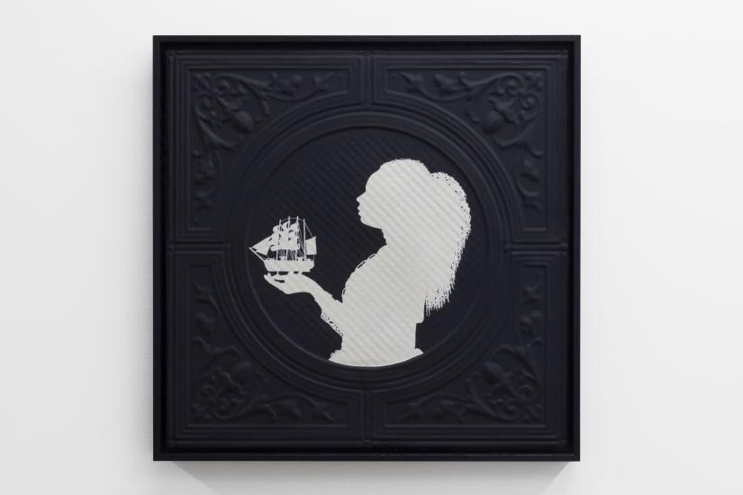 Jasmine Togo-Brisby Panel no. 856 (holding ship), 2021 Enamel paint on pressed tin (aluminum) 655mm x 655mm (framed)