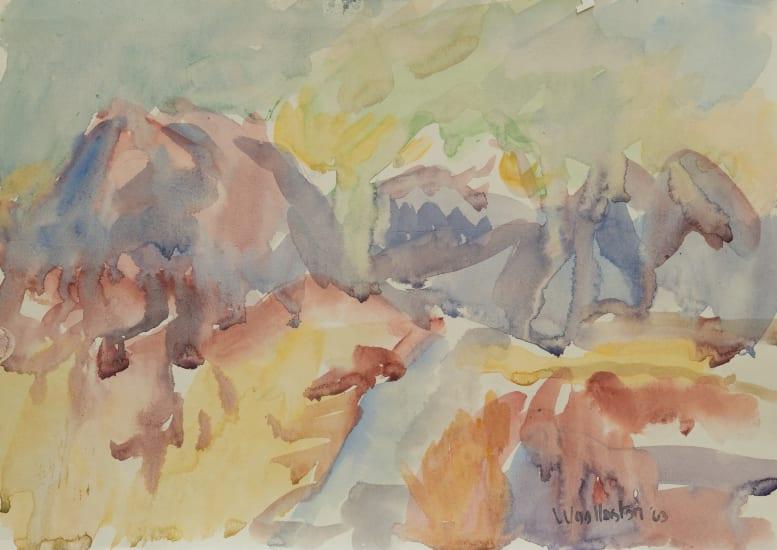 Mountford Tosswill Woollaston Taratama, Hohonu and Turiwhate (The Road To Kumara), 1963 Watercolour on paper 275mm x 375mm (unframed)