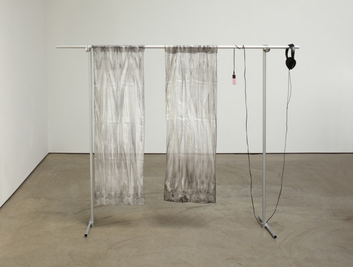 Juliette Bonneviot, Shanghai Gesture 2 Soundtrack and Squid Ink on Silk on Struc-Tube, 2012