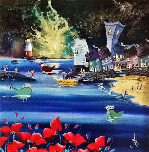 Seaside Moonlit Poppies