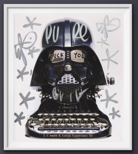 Pure Evil, F**K You Corona - Canvas- Tagged Darth Typewriter, 2020