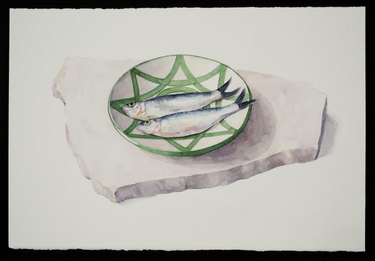 Carol Ivey, Sardines on Spanish Plate, 2019