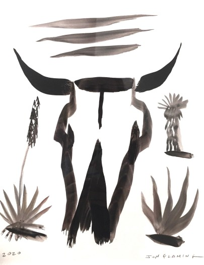 Jon Flaming, Large Cow Skull with Yucca, 2020