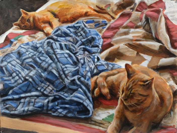 Ron Crouch, Lounging Cats (version 2), 2020