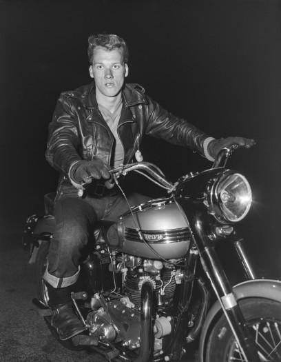 Bob Mizer, Bill Dvorak (on Triumph), Los Angeles, 1956