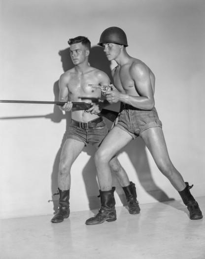Bob Mizer, Jack Swan and Peter Gomm, Los Angeles, 1956