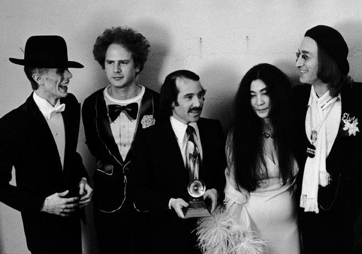 Ron Galella, David Bowie, Art Garfunkel, Paul Simon, Yoko Ono and John Lennon at the Grammy Awards, New York, March 1, 1975