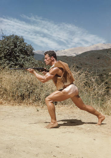 Bob Mizer, Bob Moore (in rawhide vest), Southern California, 1953