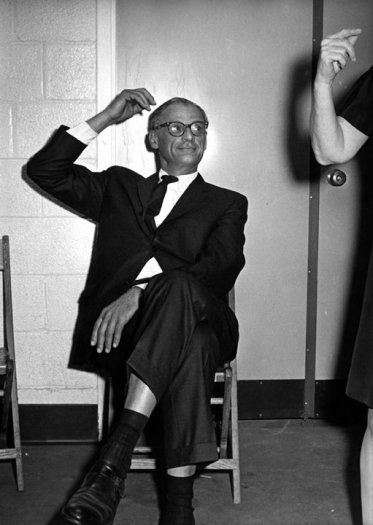 Ron Galella, Arthur Miller backstage at the Eugene McCarthy Rally at Madison Square Garden, New York, May 21, 1968