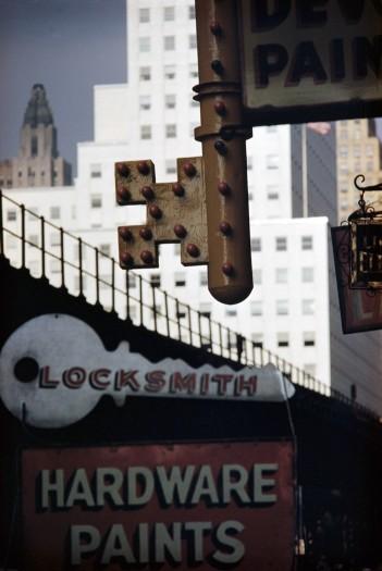 Ernst Haas, Locksmith's Sign, NY, 1952