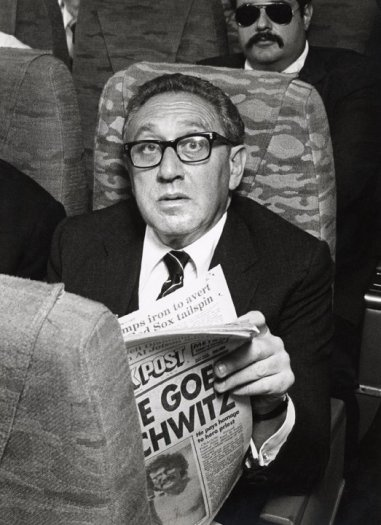 Henry Kissinger aboard an Eastern Airlines shuttle flight from New York to Boston, MA, New York, June 7