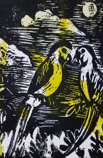 E. Tilly Strauss, Parrots: Beak to Beak, 2013