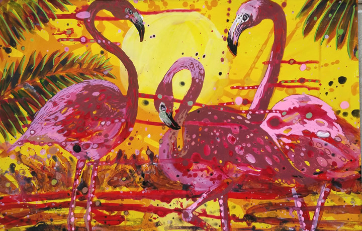 E. Tilly Strauss, Flamingo Sunset, 2019