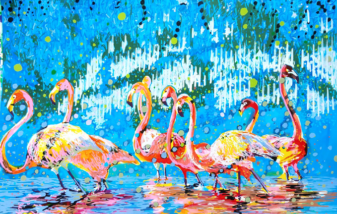 E. Tilly Strauss, Flamingo Pat Party, 2019