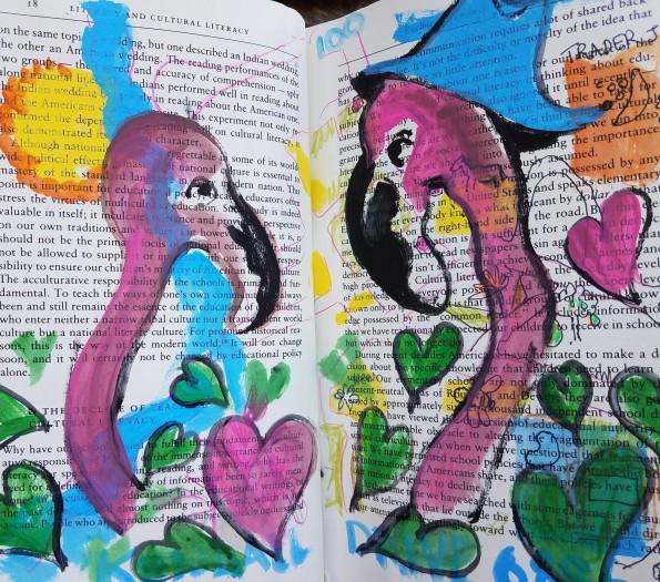 E. Tilly Strauss, Two crazy in love birds sketch, 2017