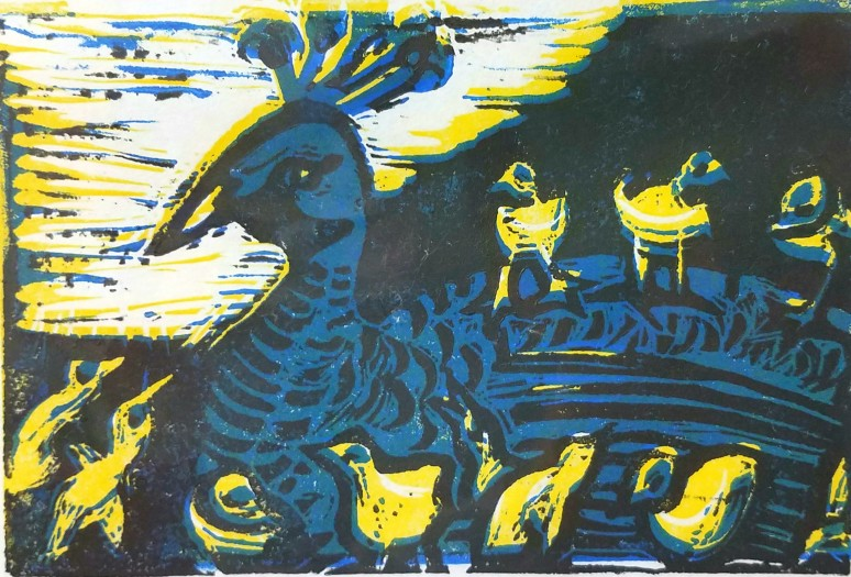 E. Tilly Strauss, Pea Hen with Chicks, 2015