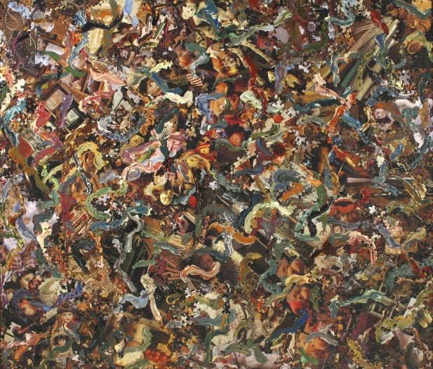 Al Souza, Antique Kaleidoscope Redux, Puzzles and acrylic on wood panel , 41 x 48