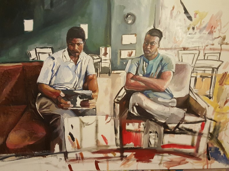 Darla Barolini, Boys Looking at An Ipad, 2016
