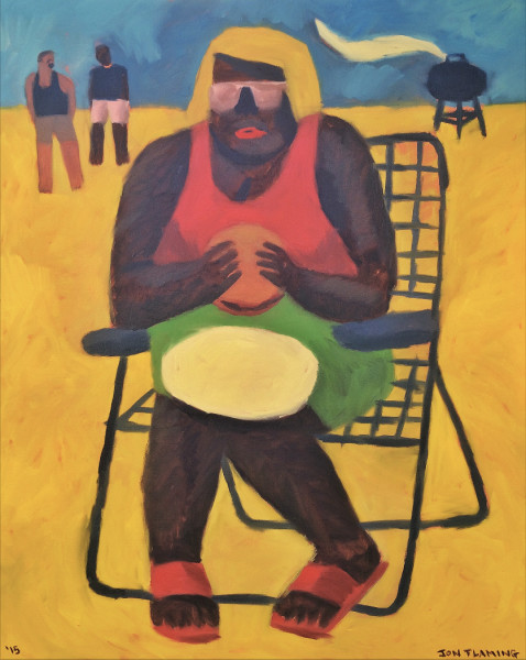Jon Flaming, Backyard BBQ Sandwich (Girl In Lawn Chair), 2016
