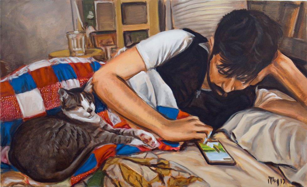 <span class=&#34;artist&#34;><strong>Ron Crouch</strong></span>, <span class=&#34;title&#34;><em>Texting Man with Cat</em>, 2017</span>