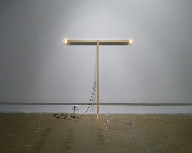 "Ryan Goolsby, ""Untitled"", 2014. Wood, electrical wiring, socket bulbs. 50.5 x 46 x 1"""