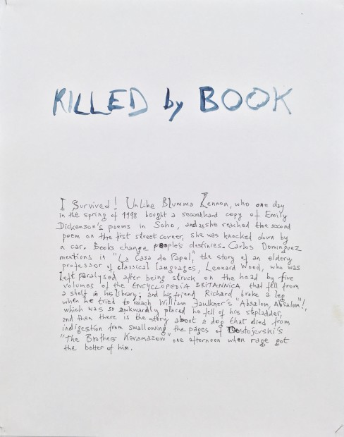 Johan Grimonprez, Killed by Book, 2018